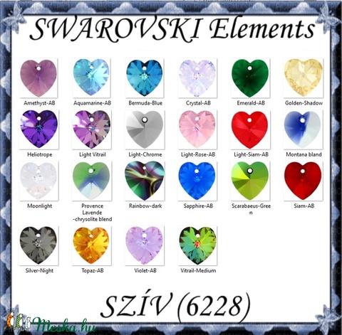 Swarovski kristály medál: SWM szív (6228) 14mm-es AB  több színben - Meska.hu