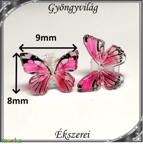 Kristály 3D-s pillangó szilikon fülbevaló 8x9mm-es SFSZ-K06-1   8 pár/doboz - Meska.hu