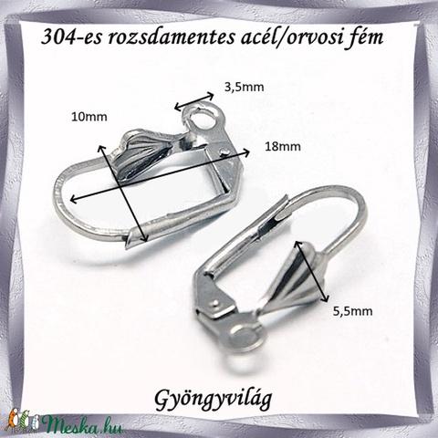 Nemes acél ékszerkellék: Francia/biztonsági kapcsos fülbevaló alap NAFK 11-1 2pár/cs - Meska.hu