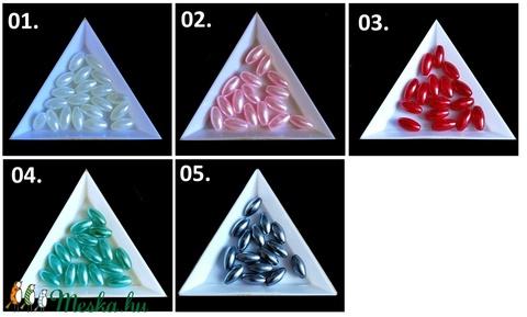 Ékszerkellék: gyöngy, viasz gyöngy GY VGYR 6x12 mm rizsszem több színben - gyöngy, ékszerkellék - fém köztesek - Meska.hu