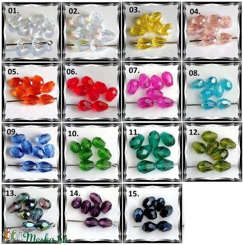 Ékszerkellék: gyöngy, üveg csepp GY ÜCS01 6x8 mm-es hosszában fúrt több színben - gyöngy, ékszerkellék - fém köztesek - Meska.hu