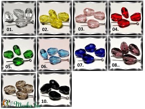 Ékszerkellék: gyöngy, üveg csepp GY ÜCS01 8x11 mm-es hosszában fúrt több színben - gyöngy, ékszerkellék - fém köztesek - Meska.hu