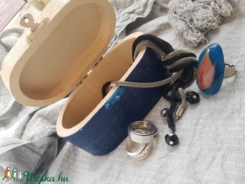 Rusztikus kék mozaikos  fadoboz dobozka ládika ékszertartó (Hamupupocska) - Meska.hu