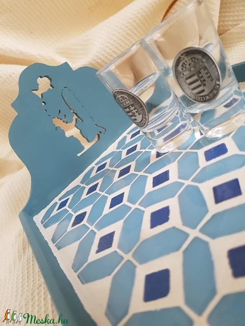 Kék horgász lenkék, menta - kék - fehér mozaik tálca - otthon & lakás - konyhafelszerelés - tálca - Meska.hu