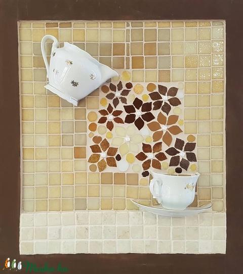 Tejeskávé barna drapp bézs virágos reggeli kávé tea kép - 3D mozaik falikép dekoráció (Hamupupocska) - Meska.hu