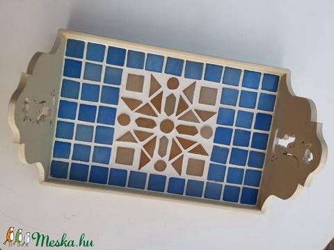 Kék barna bézs kaleidoszkóp  mintás mozaik tálca  kávé és tea kínáló  (Hamupupocska) - Meska.hu
