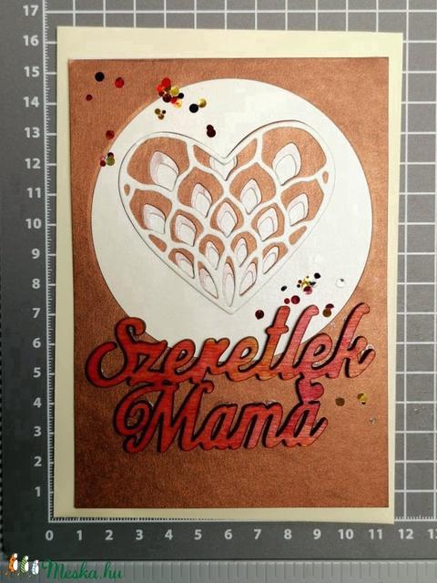 Anyák Napja csipke szíves strasszos elegáns képeslap - Mamának : HMB2104_057 - Meska.hu