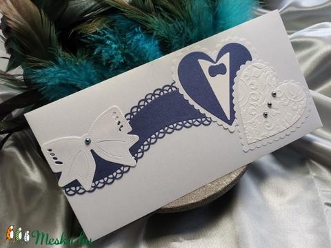 Prémium fehér kék gyöngyházfényes díszes esküvői jótartású, zárható pénzátadó boríték : HMB2104_070 - Meska.hu