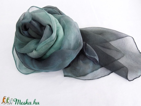 Kék tangó hernyóselyem chiffon stóla - Meska.hu