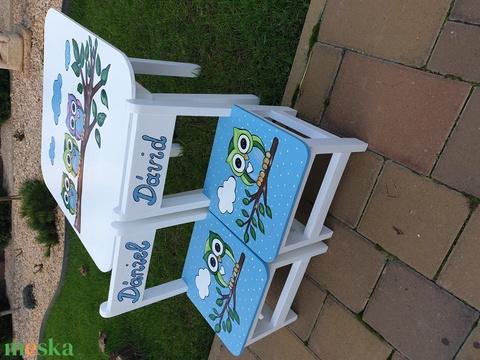 Asztal és szék bagoly (hermareszdekor) - Meska.hu