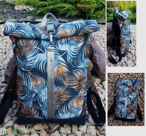 Ezüstös-szürke- bronz -kékkel hátitáska- valódi bőrrel - vízálló - laptoptáska - nagyobb méret - Meska.hu