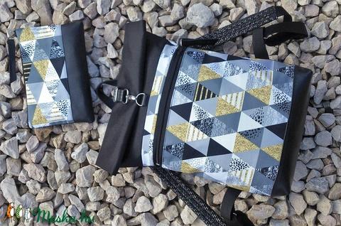 Ezüstös-szürke- vízálló hátitáska- fekete valódi bőrrel - laptoptáska - nagyobb méret-neszivel szettben (hetenyieva) - Meska.hu