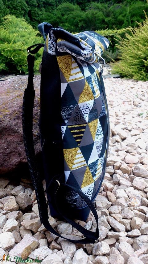 Zöld -ezüstös szürke-kék hátitáska- valódi bőrrel - vízálló - laptop táska- nagyobb méret (hetenyieva) - Meska.hu