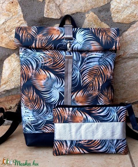 Ezüstös-szürke- bronz -kékkel hátitáska- valódi bőrrel - vízálló - laptoptáska - nagyobb méret + neszivel szettben (hetenyieva) - Meska.hu