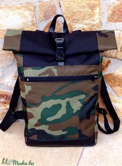 Zöld-barna fekete, férfi hátizsák, vízálló- valódi bőrrel -laptoptáska- nagy méretben (hetenyieva) - Meska.hu