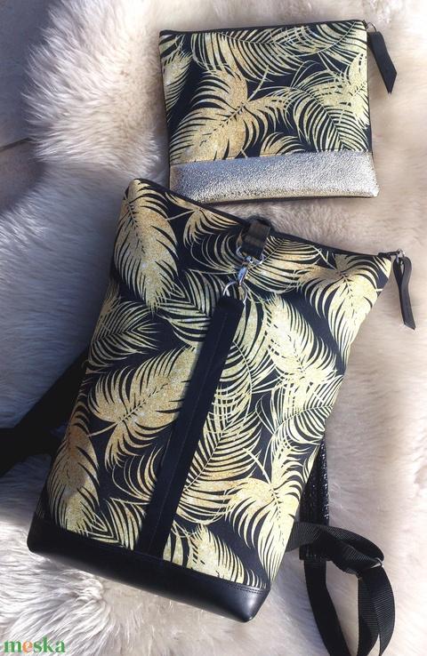 Elegáns -fekete - aranybarna mintás vízálló hátitáska- valódi bőrrel - nagyobb méretben neszivel szettben - Meska.hu