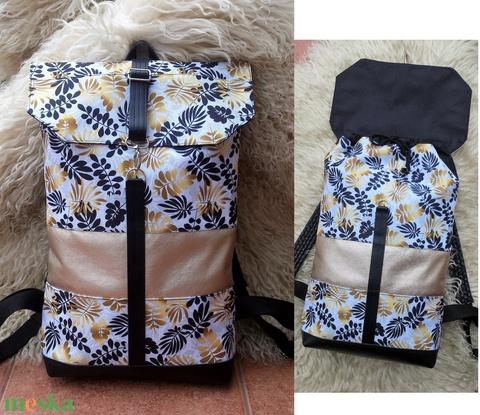 Levélmintás aranybarna- fekete, fehér vízálló - laptoptáska -hátitáska/nagyobb méret- valódi bőrrel  - Meska.hu
