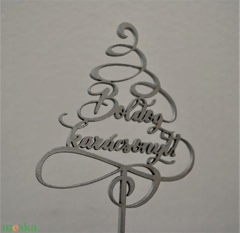 Tortabeszúró, Boldog karácsonyt, karácsonyfát formázó hullámokkal (HisziArt) - Meska.hu