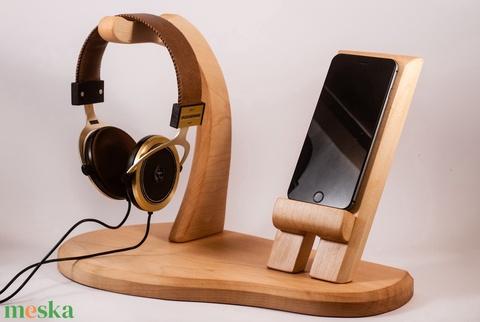 Fejhallgató, és mobiltelefon tartó, asztali rendező - Meska.hu