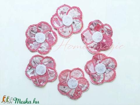 Rózsaszín virág poháralátét, edényalátét (Homemagic) - Meska.hu