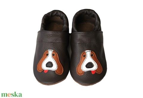 Hopphopp puhatalpú cipő - Kutyusos / Sötétbarna - Meska.hu