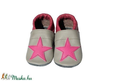 Hopphopp puhatalpú cipő - Csillagos - Szürke/Bordó (Hopphopp) - Meska.hu
