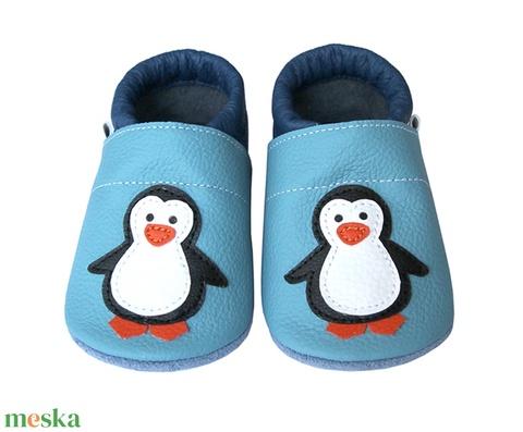 Új!!! Hopphopp puhatalpú cipő - Pingvin - világoskék/sötétkék (Hopphopp) - Meska.hu