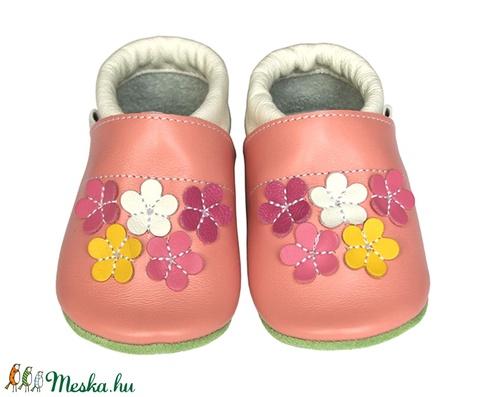 Új!!! Hopphopp puhatalpú cipő - Virágos/rózsaszín (Hopphopp) - Meska.hu