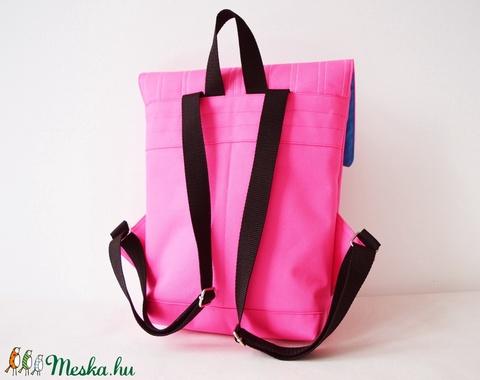 Neon pink vízlepergető kicsi hátizsák épület mintával - Meska.hu