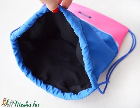 Pink kék vízlepergető hátizsák / tornazsák - Meska.hu