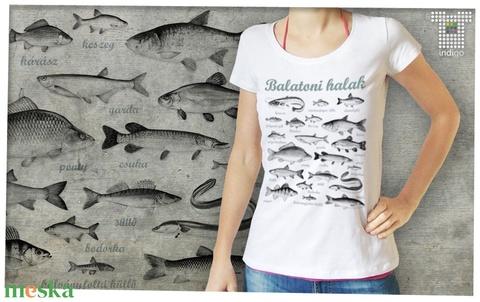 Balatoni halak női Stars pólón - ruha & divat - női ruha - póló, felső - Meska.hu