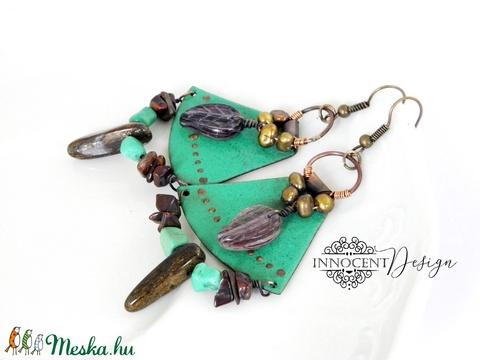 Természetasszony -  tűzzománc fülbevaló (zöld) (InnocentDesign) - Meska.hu
