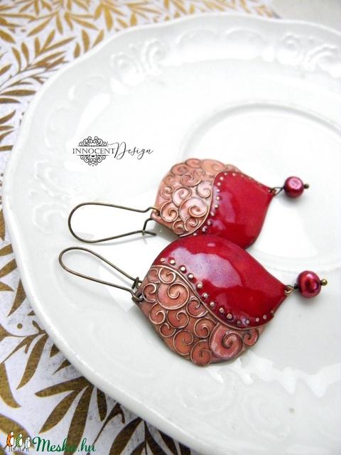 Léna - tűzzománc fülbevaló (bordó-rózsaszín) (InnocentDesign) - Meska.hu