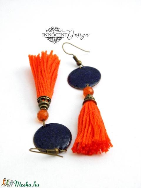colorBlocking - bojtos tűzzománc fülbevaló (kék és narancssárga) (InnocentDesign) - Meska.hu