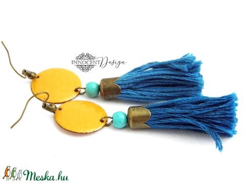 colorBlocking - bojtos tűzzománc fülbevaló (sárga és türkiz) (InnocentDesign) - Meska.hu