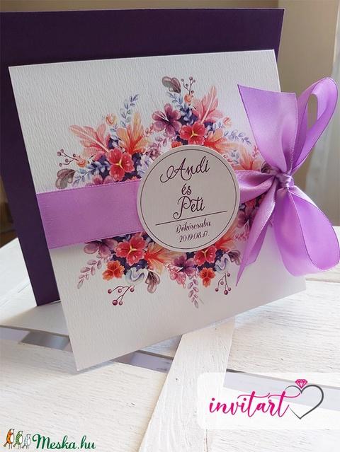 Lila csoda esküvői meghívó borítékkal (Invitart) - Meska.hu