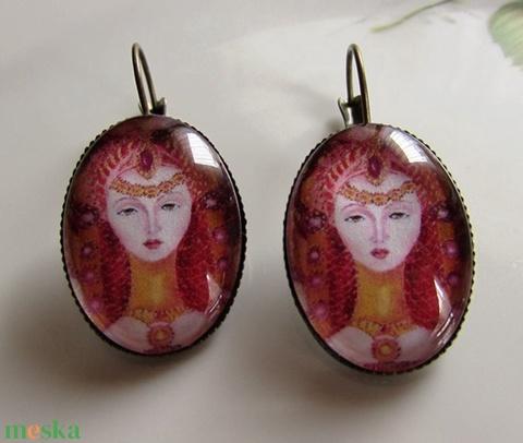 Vintage-fülbevaló saját festménnyel - Meska.hu
