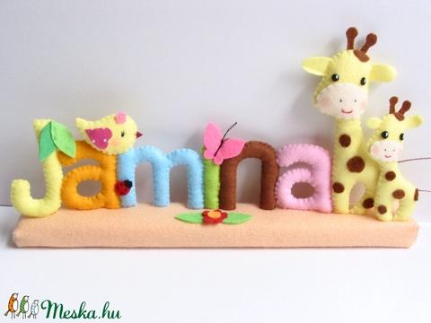 Jamina- madárkás- zsiráfos-pillangós-katicás filc névtábla - Meska.hu