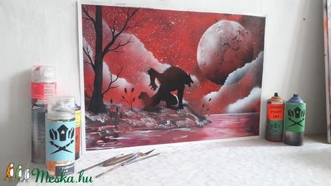 Farkasember festmény - festékszóróval készült - Meska.hu
