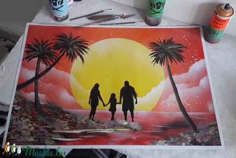 Család a naplementében festmény - festékszóróval készült - Meska.hu