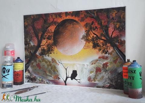 Bagoly és vízesés festmény - festékszóróval készült - Meska.hu