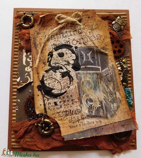Egyedi, kézműves mixed media képeslap az utazás szerelmeseinek, vintage, mixed media (Jbgifts) - Meska.hu