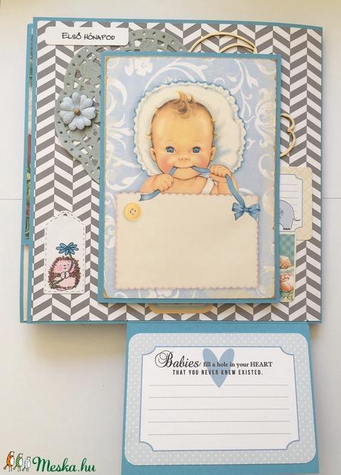 Mesekönyvszerű, egyedi, kézműves baba emlékkönyv a baba első éve legemlékezetesebb pillanatainak, baba fotóalbum, kisfiú (Jbgifts) - Meska.hu