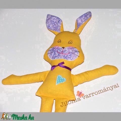 sárga-lila nyuszilány nyúl textilfigura - Meska.hu