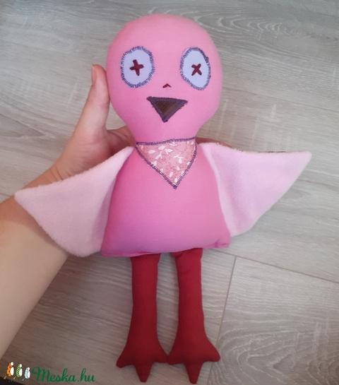 rózsaszín madárka babajáték - Meska.hu