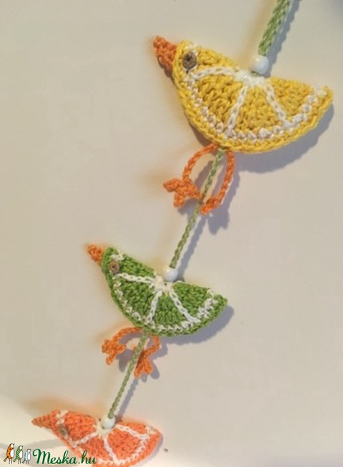 Horgolt gyümölcs madarak (citrus)/ függő dekoráció (Judit920) - Meska.hu
