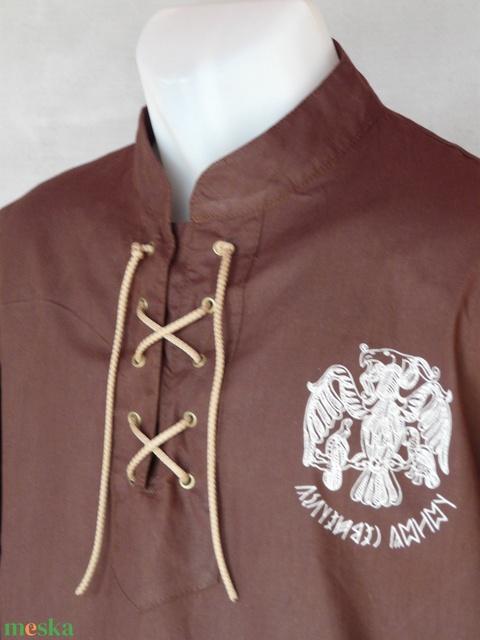 Fűzős barna turul ing, pamutvászon, S-4XL - Meska.hu