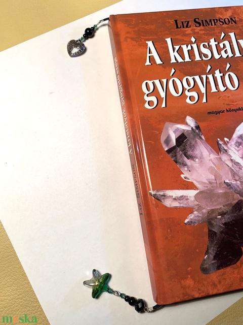 Könyvjelző zöld csillad lámpagyöngy - Meska.hu
