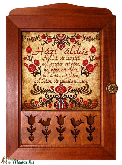 Kulcstartó szekrény, kulcsos szekrény Áldás tulipános motívummal #11 - Meska.hu