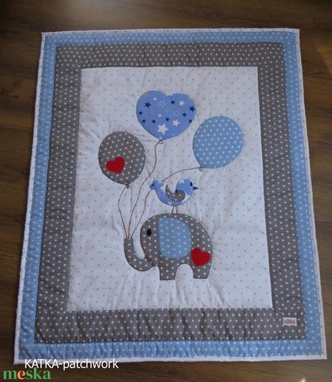Elefántos patchwork takaró szett - Meska.hu